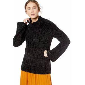 Lucky Brand Chenille Cowl Neck Sweater Sz L Black
